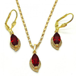 Gold Plated Garnet CZ Leaf Dangling Drop Mariner Link Pendant Necklace Lever Back Earring Set
