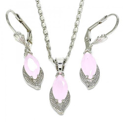 Rhodium Plated Pink CZ Leaf Dangling Drop Mariner Link Pendant Necklace Lever Back Earring Set