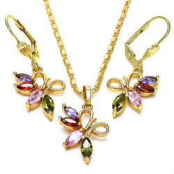 Gold Plated Multicolor CZ Fancy Dangling Drop Mariner Link Pendant Necklace Lever Back Earring Set