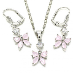 Rhodium Plated Pink CZ Butterfly Dangling Drop Mariner Link Pendant Necklace Lever Back Earring Set