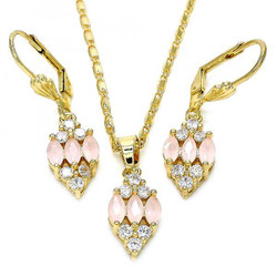 Gold Plated Pink CZ Fancy Dangling Drop Mariner Link Pendant Necklace Lever Back Earring Set