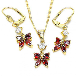 Gold Plated Garnet CZ Butterfly Dangling Drop Mariner Link Pendant Necklace Lever Back Earring Set