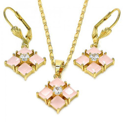 Gold Plated Pink CZ Diamond Dangling Drop Mariner Link Pendant Necklace Lever Back Earring Set