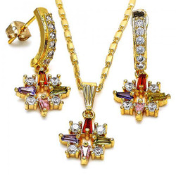 Gold Plated Multicolor Cubic Zirconia Fancy Dangling Drop Mariner Link Pendant Necklace Earring Set