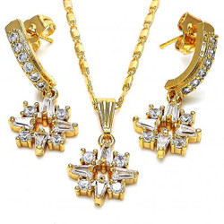 Gold Plated Clear Cubic Zirconia Fancy Dangling Drop Mariner Link Pendant Necklace Earring Set