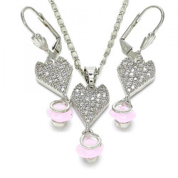 Rhodium Plated Pink CZ Heart Tear Drop Dangling Mariner Link Pendant Necklace Lever Back Earring Set