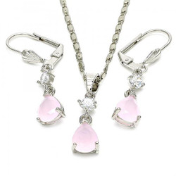 Rhodium Plated Pink CZ Tear Drop Dangling Mariner Link Pendant Necklace Lever Back Earring Set