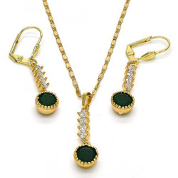 Gold Plated Green CZ Round Dangling Drop Mariner Link Pendant Necklace Lever Back Earring Set