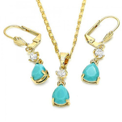 Gold Plated Aqua Blue CZ Tear Drop Dangling Mariner Link Pendant Necklace Lever Back Earring Set