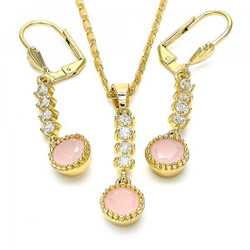 Gold Plated Pink CZ Round Dangling Drop Mariner Link Pendant Necklace Lever Back Earring Set