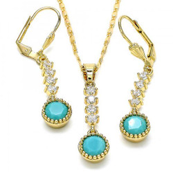Gold Plated Aqua Blue CZ Round Dangling Drop Mariner Link Pendant Necklace Lever Back Earring Set