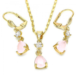 Gold Plated Pink CZ Tear Drop Dangling Mariner Link Pendant Necklace Lever Back Earring Set