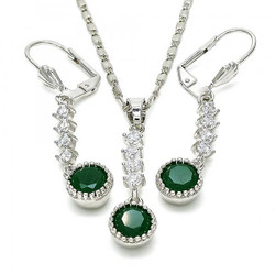 Rhodium Plated Green CZ Round Dangling Drop Mariner Link Pendant Necklace Lever Back Earring Set