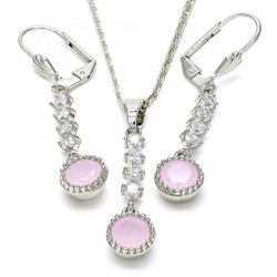 Rhodium Plated Pink CZ Round Dangling Drop Mariner Link Pendant Necklace Lever Back Earring Set