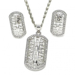 Rhodium Plated Clear Cubic Zirconia Greek Key Design Mariner Link Pendant Necklace Stud Earring Set
