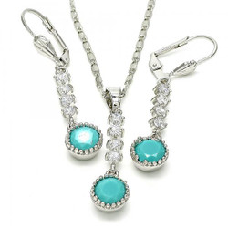Rhodium Plated Aqua Blue CZ Round Dangling Drop Mariner Link Pendant Necklace Lever Back Earring Set