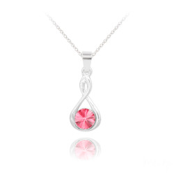 Women's Solid .925 Sterling Silver Pink Cubic Zirconia Swarovski Pendant + Cable Chain Necklace