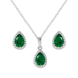 Women's 8.7mm Rhodium Plated Silver Green CZ Pendant + Cable Chain Necklace Set, 18 inches