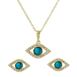 8.7mm Gold Plated Silver Blue Turquoise Evil Eye Pendant + Cable Chain Necklace Set, 16 inches