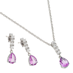 6.4mm Rhodium Plated Silver Pink Cubic Zirconia Pendant + Cable Chain Necklace Set, 18 inches