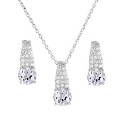 6mm Rhodium Plated Silver Clear Cubic Zirconia Pendant + Cable Chain Necklace Set, 18 inches