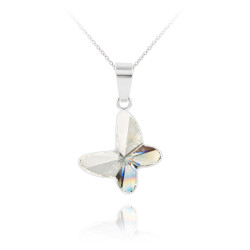 Women's 14.8 Solid .925 Sterling Silver Clear Cubic Zirconia Swarovski Pendant + Cable Chain Necklace