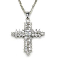 27.7mm Polished Rhodium Plated Clear Cubic Zirconia Square Curb Pendant + Necklace, 21.5