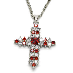 27.7mm Polished Rhodium Plated Red Cubic Zirconia Square Curb Pendant + Necklace, 21.5