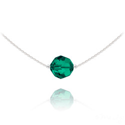 Women's Solid .925 Sterling Silver Green Cubic Zirconia Swarovski Pendant + Cable Chain Necklace