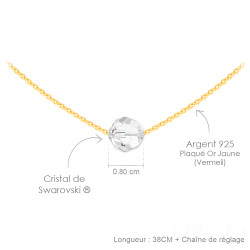 Women's 14k Yellow Gold Plated Silver Clear CZ Swarovski Pendant + Cable Chain Necklace