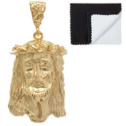Men's 14k Yellow Gold Plated Crown Of Thorns Jesus Face Pendant + Chain Necklace Set + Gift Box