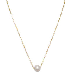 """9mm 14k Gold Filled White Freshwater Cultured Pearl Rolo Necklace Pendant 16"""" + 2"""" + Polishing Cloth"""