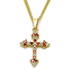 18.7mm Polished 14k Yellow Gold Plated Red Cubic Zirconia Curb Pendant + Necklace, 21.5