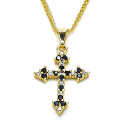 18.7mm Polished 14k Yellow Gold Plated Black Cubic Zirconia Curb Pendant + Necklace, 21.5