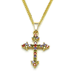 18.7mm Polished 14k Yellow Gold Plated Multicolor Cubic Zirconia Curb Pendant + Necklace, 21.5