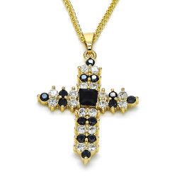 27.7mm Polished 14k Yellow Gold Plated Black Cubic Zirconia Square Curb Pendant + Necklace, 21.5