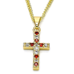 12.3mm Polished 14k Yellow Gold Plated Red Cubic Zirconia Curb Pendant + Necklace, 21.5
