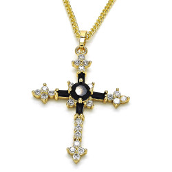 28.3mm Polished 14k Yellow Gold Plated Black Cubic Zirconia Curb Pendant + Necklace, 21.5