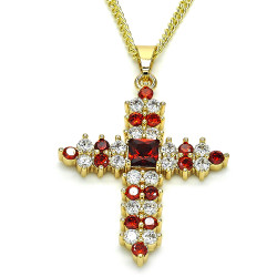 27.7mm Polished 14k Yellow Gold Plated Red Cubic Zirconia Square Curb Pendant + Necklace, 21.5