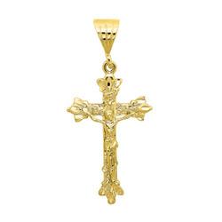 Men's 14k Yellow Gold Plated Fleur-de-Lis Trefoil Crucifix Cross Pendant + Chain Necklace Set + Gift Box