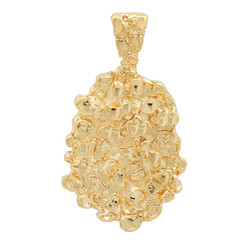 Men's Textured 14k Yellow Gold Plated Medallion (Nugget) Pendant + Chain Necklace Set + Gift Box