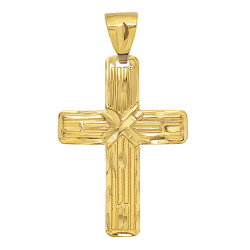 Men's Textured 14k Yellow Gold Plated 'x' Cross Pendant + Chain Necklace Set + Gift Box