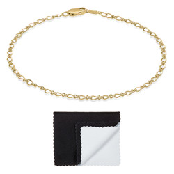 Women's 2.7mm 14k Yellow Gold Plated Cable Chain Bracelet