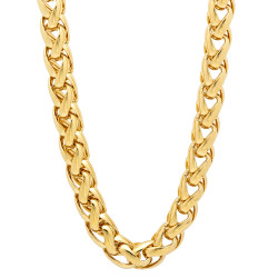 7.5mm 14k Yellow Gold Plated Braided Wheat Chain Necklace + Gift Box