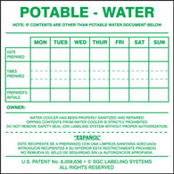 Potable Water Cooler Label (Per PK)