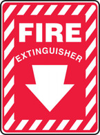 "Fire Extinguisher (Down Arrow White) Sign 10""x14"""