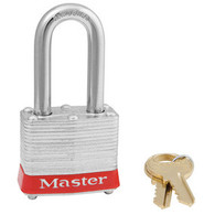 "Red Laminated Steel Safety Padlock,  1-1/2"" Shackle"
