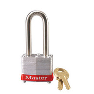 "Red Laminated Steel Safety Padlock, 2"" Shackle"