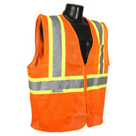 Class 2 Self Extinguishing Two-Tone Trim Safety Vest - Orange