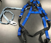 Fall Protection Harness with Attached Lanyard